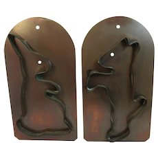 Large Vintage Copper Bunny Rabbit and Dog Cookie Cutters Village by Pfaltzgraff