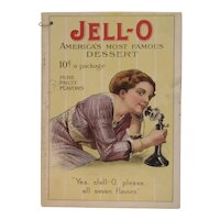 c 1909 Jell-O Cookbook Lady Ordering on Candlestick Telephone with Ice Cream Insert Jell O Jello Phone Seven Flavors