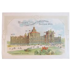 1893 World's Colombian Exposition US Government Building Victorian Trade Card Wagner Bros Farmers' Supply Store Carlisle, PA