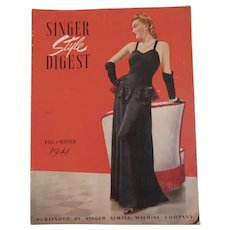 1941 Singer Style Digest Magazine WWII Era Ladies Fashion Sewing Machine Patterns Advertising Fall and Winter