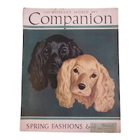 March 1937 Woman's Home Companion Magazine with Spaniel Dogs on Cover Illustrations Advertising