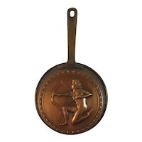 Copper Skillet or Mold Pan with Archer and Brass Handle Vintage Kitchen Farmhouse Decor for Hanging Man with Bow and Arrow