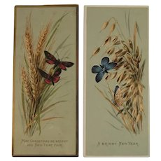 2 Victorian Butterfly Christmas and New Year Cards Butterflies Chromolithograph Artist Signed