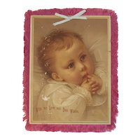 Victorian Silk Fringe Card with Chromolithograph of Baby Fringed Pink