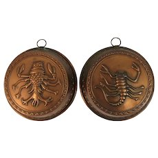 2 Copper Molds with Lobster Crawfish Motif Brass Hooks Vintage Kitchen Farmhouse Decor for Hanging