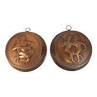 2 Copper Molds with Mythological Motif Brass Hooks Vintage Kitchen Farmhouse Decor for Hanging