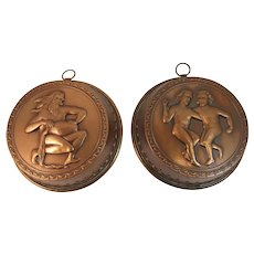 2 Copper Molds with Mythological Motif Brass Hooks Vintage Kitchen Farmhouse Decor for Hanging