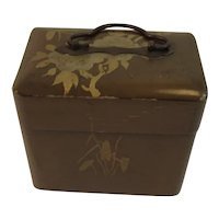 Vintage Japan Lacquer Trinket Box Hinged with Brass Handle Velvet Lined