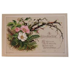 1883 Eyre & Spottiswoode New Year Card Chromolithograph Victorian