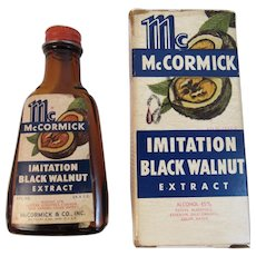 McCormick Black Walnut Extract Bottle and Box with Recipes Amber Glass Vintage Spice Company Kitchen