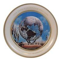 1964 1965 New York World's Fair Unisphere Tin Souvenir Plate 1961 Fabcraft Mid Century Modern Peace Through Understanding
