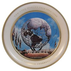 1964 1965 New York World's Fair Unisphere Tin Souvenir Plate 1961 Fabcraft Mid Century Modern Peace Through Understanding