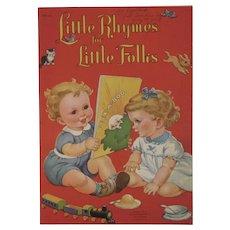 1949 Children's Book Little Rhymes for Little Folks Whitman Oversized Cloth Like Linen Style Color Illustrations Nursery