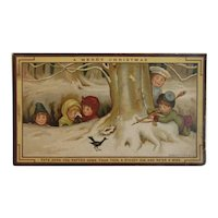 Marcus Ward Christmas Card Victorian Chromolithograph Children Hunting with Chef Winter Scene