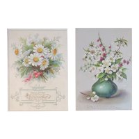 2 Victorian Christmas Cards with Flowers and Poetry Embossed