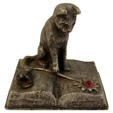 Gallo Pewter Cat Miniature Witch's Familiar on a Book of Spells with Crystal Ball and Rhinestone