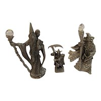 3 Miniature Pewter Wizards Wizardry Mythological Vintage