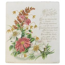 Raphael Tuck & Sons Valentine Chromolithograph from the Edwardian Era Flowers and Poetry Card