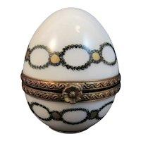 R S Hand Painted Egg Limoges Porcelain Trinket Box Reales Sitios de Espana