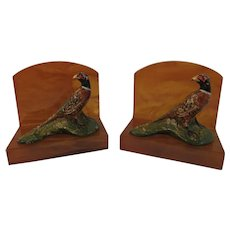 Hubley Fred Everett Pheasant Cast Iron on Lucite or Bakelite Bookends Paperweights Book End Paper Weight
