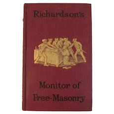 c 1890 Richardson's Monitor of Free-masonry By Jabez Richardson Freemasonry Free Mason Masonry Freemasons Book