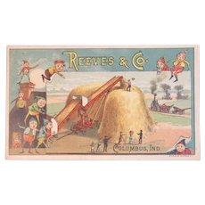 Reeves & CO Brownies Elves Victorian Trade Card Columbus, Indiana Farm Stacker Machine Advertising Elf Brownie