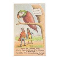 1887 Victorian Fantasy Trade Card Bird as a Beet Williams & Clark Bone Fertilizers New York Advertising