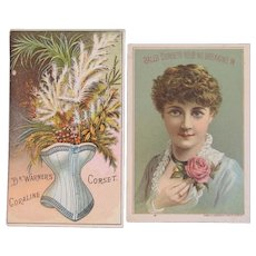 2 Coraline and Ball's Corsets Trade Cards Dr. Warners Victorian Advertising Harrisburg, PA