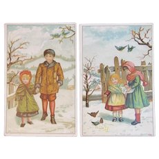 2 Victorian Children Trade Cards for Sharpless Brothers Philadelphia, PA Bros Winter Scenes