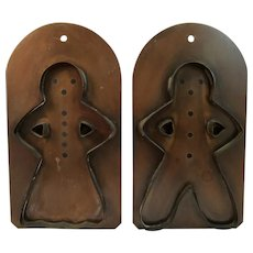 Large Vintage Copper Gingerbread Man and Woman Cookie Cutters Village by Pfaltzgraff
