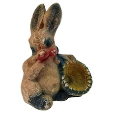 Vintage Chalkware Easter Bunny with Basket