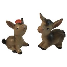 Lefton Donkey Salt and Pepper Shakers Vintage Kitsch