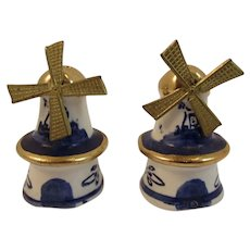 Mini Dutch Delft Windmill Salt and Pepper Shakers with Spinning Blades Holland Vintage