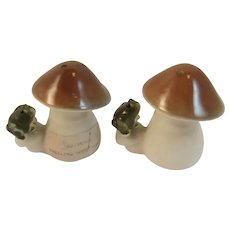 Frog on Toadstool Mushroom Salt and Pepper Shakers Wheeling West Virginia
