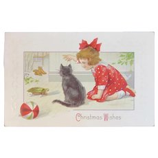 Christmas Wishes Black Kitty Cat with Turtle Toy and Little Girl Postcard Embossed
