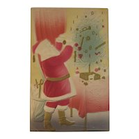 Santa Air Brushed Christmas Postcard Tree and Toys Embossed Gold Boots