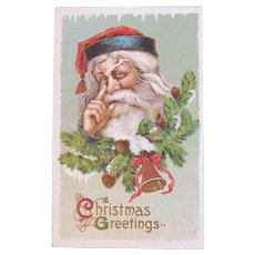 Samson Brothers Santa With a Finger Aside of His Nose Embossed Postcard Christmas Greetings