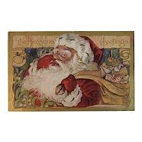 Embossed Santa Claus Postcard The Seasons Greetings Christmas Sack of Toys