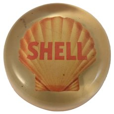 Shell Oil Lucite Paperweight Gasoline Petroliana Advertising Vintage