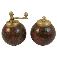 Italy Globe Pepper Mill and Salt Shaker Set Vintage Kitchen Italian Old World