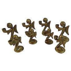8 Brass Miniature Angel Candle Holders Kneeling Angels Vintage Christmas