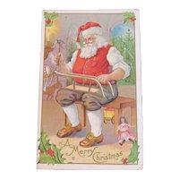 Santa Making a Sled in the Workshop Unused Embossed Postcard