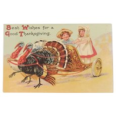 1909 Davidson Bros Thanksgiving Turkeys Pulling a Chariot with Children England