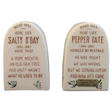 Western Grave Marker Headstone Salt and Pepper Shakers Boot Hill Salty O'Day and Pepper Tate Vintage Tableware Rock City Tennessee