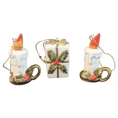 3 Vintage Christmas Ornaments Japan Ceramics Set of Three Candles and Present