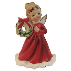 Napco Christmas Angel Holding a Wreath X-6964 Vintage