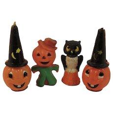 Gurley Pumpkin Man, Pumpkin Wizards and a Wise Owl Candles Vintage Halloween