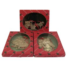 3 Reed & Barton Silver Plate Christmas Ornaments Santa Angel and Bon Ton Carriage