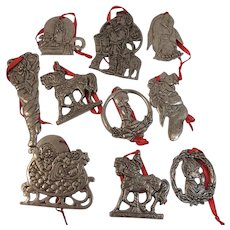 10 Pewter Christmas Ornaments by Carson and Other Makers
