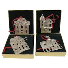 Set of 4 Kirk Steff Pewter Christmas Ornaments Victorian Homes Series